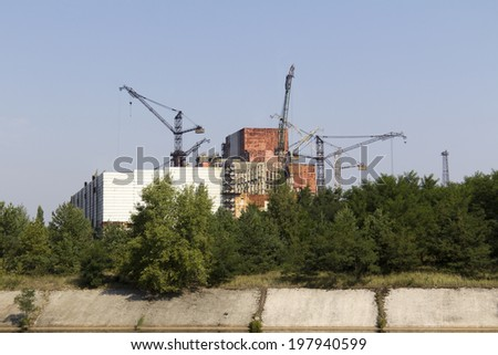 Constuction plant of nuclear reactor 5 and 6, which was abandoned after nuclear disaster in Chernobyl at 26.04.1986 - stock photo