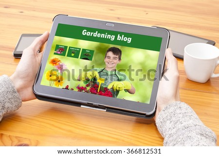 consult the website of gardening, flowers and garden - stock photo
