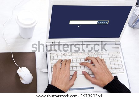 consult the website of the search engine - stock photo