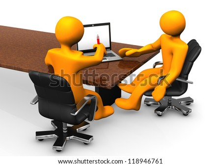 Consultant consults the client with a notebook. White background. - stock photo