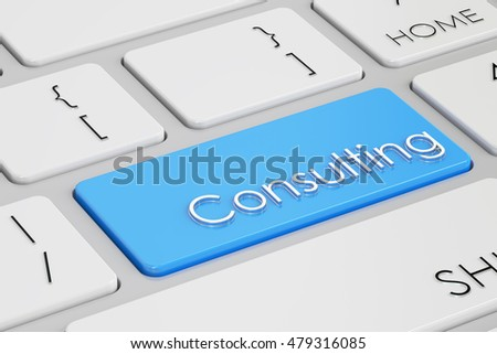 consulting button, blue key on  keyboard. 3D rendering