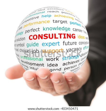 Consulting concept. Hand take white ball with red inscription consulting