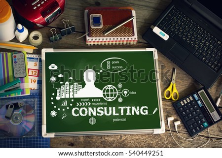 Consulting design concept for business, consulting, finance, management. Printed materials.