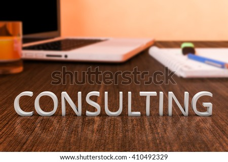 Consulting - letters on wooden desk with laptop computer and a notebook. 3d render illustration. - stock photo