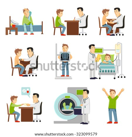 consulting practitioner doctor and patient in hospital set flat decorative icons isolated  illustration - stock photo