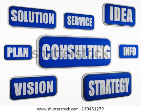 consulting - text in 3d blue banners with business concept words - stock photo