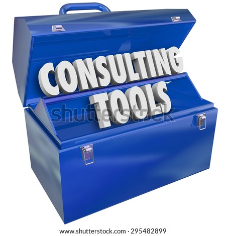 Consulting Tools toolbox of skills, experience, professional support and advice to offer businesses or companies needing service or guidance - stock photo