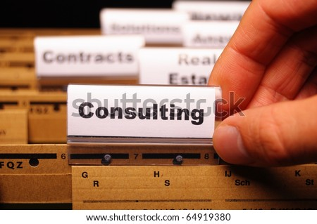 consulting word on business office folder rider showing financial success concept - stock photo
