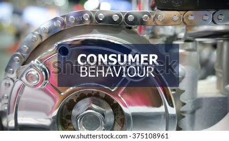 CONSUMER BEHAVIOUR  on the Mechanism of Metal Cogwheels background , innovation concept , business concept, business idea  - stock photo