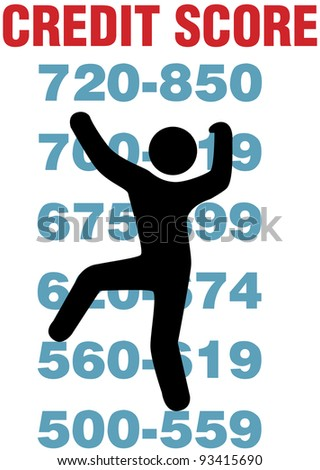 Consumer climbs up report scores to better personal credit card score - stock photo