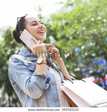 Consumer Customer Female Shopping Leisure Casual Concept - stock photo