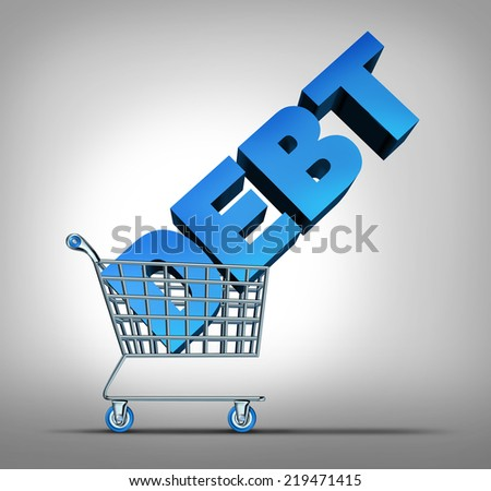 Consumer debt financial concept as a shopping cart dragging a three dimensional text as a credit problem symbol for challenges managing spending at retail stores. - stock photo
