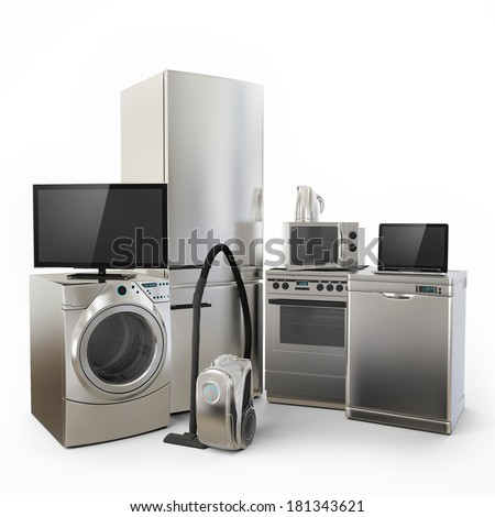 Consumer Electronics Tv Fridge vacuum cleaner Microwave Washer and Electric Cooker - stock photo