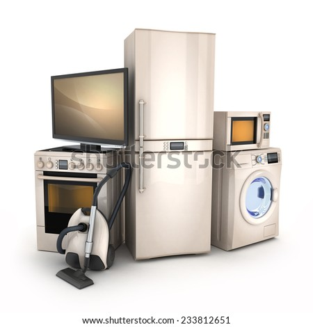 Consumer electronics.TV,Fridge,vacuum cleaner,microwave,washer and electric-cooker - stock photo