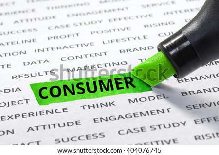 consumer message highlighted with marker on paper of other related words. For direction of business marketing  strategy success concept - stock photo