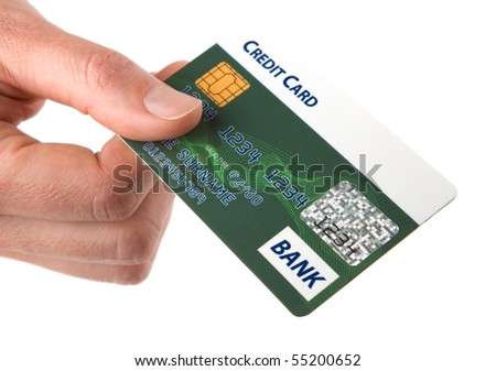 Consumer pays a bill with credit card. Isolated on white background. - stock photo