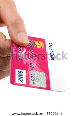 Consumer pays a bill with his credit card. Isolated on white background.