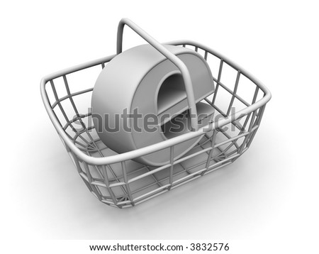 Consumer's basket with symbol for internet. 3d - stock photo
