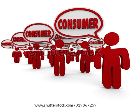 Consumer word in speech bubbles over red people who are clients, customers or target market people or prospects for your advertising or products - stock photo