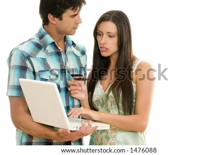 Consumers buying a products or paying bills online. - stock photo