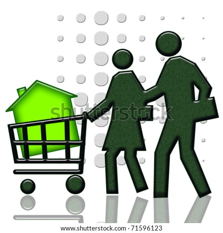 Consumers with green house in shopping cart - stock photo
