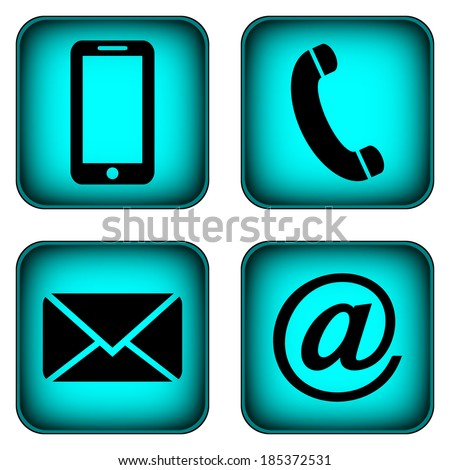 Contact buttons set - email, envelope, phone, mobile icons. - stock photo