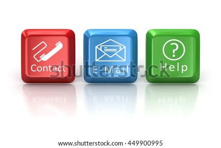 Contact , e-mail and help keyboard button , This is a 3d computer generated image. Isolated on white. - stock photo