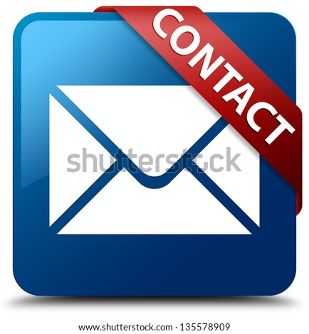Contact (Email icon) glassy red ribbon on glossy blue square button - stock photo