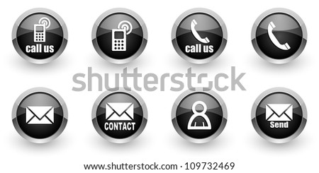 contact icons set - stock photo