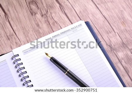 Contact Number to be fill in diary - many uses for business - stock photo