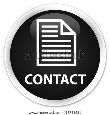Contact (page icon) black glossy round button - stock photo