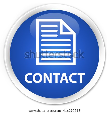 Contact (page icon) blue glossy round button - stock photo