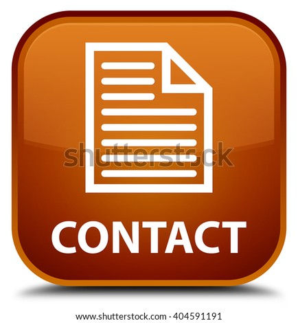 Contact (page icon) brown square button - stock photo