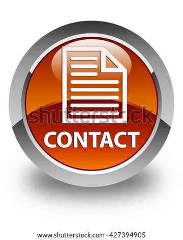 Contact (page icon) glossy brown round button - stock photo