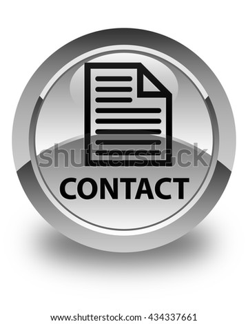 Contact (page icon) glossy white round button - stock photo