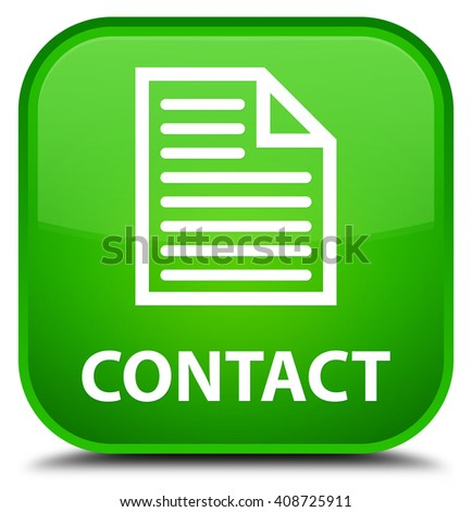 Contact (page icon) green square button - stock photo