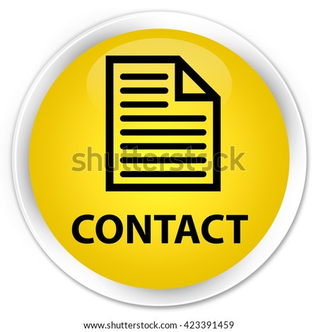 Contact (page icon) yellow glossy round button - stock photo