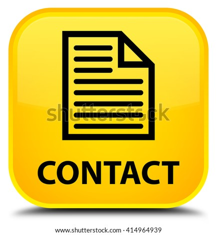 Contact (page icon) yellow square button - stock photo