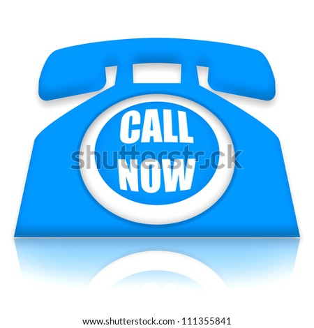 Contact phone with call now invitation - stock photo