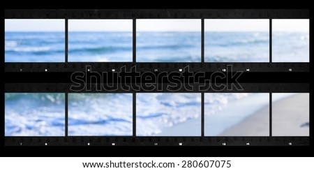 contact sheets film photography print panoramic sea defocused - stock photo