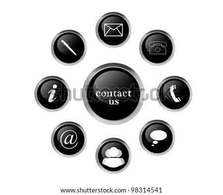 contact signs in black - stock photo