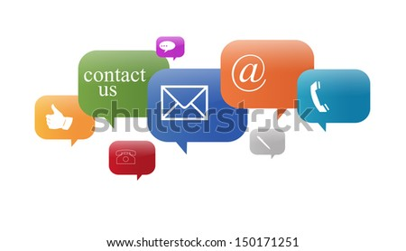 contact signs in different colors - stock photo