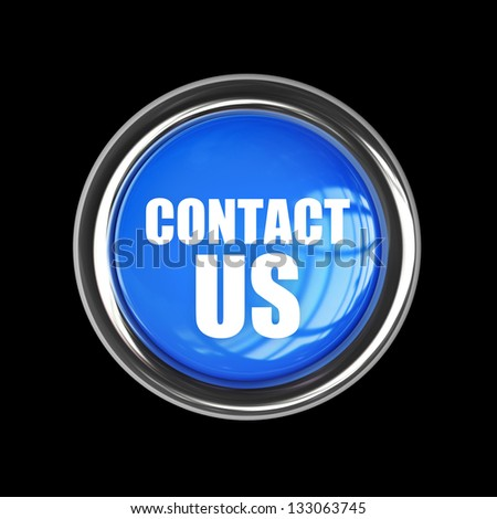 CONTACT US blue button isolated on black background. High resolution 3d render - stock photo