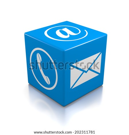 Contact Us Blue Cube on White Background - stock photo