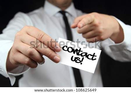 contact us - business card - stock photo