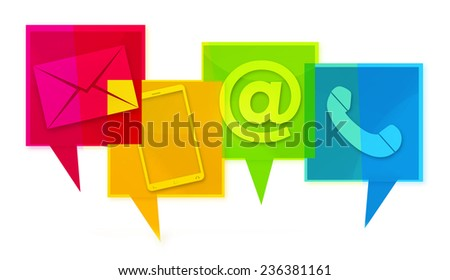 Contact Us Colorfully design graphic icons - stock photo