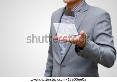 Contact us concept, businessman receiving mail. - stock photo