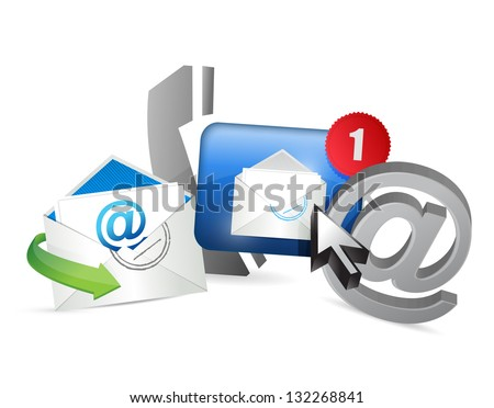 Contact us concept illustration design over white - stock photo