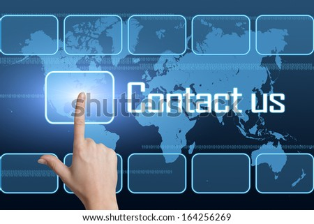Contact us concept with interface and world map on blue background