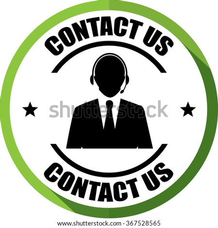 Contact us(Customer care icon) green, Button, label and sign. - stock photo